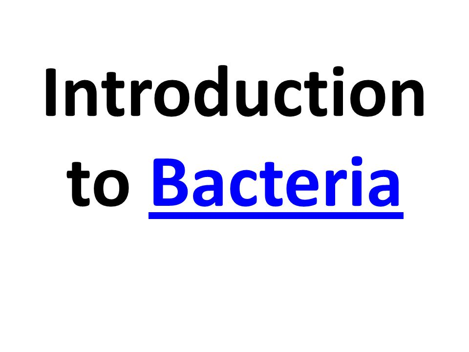 Introduction to BacteriaBacteria