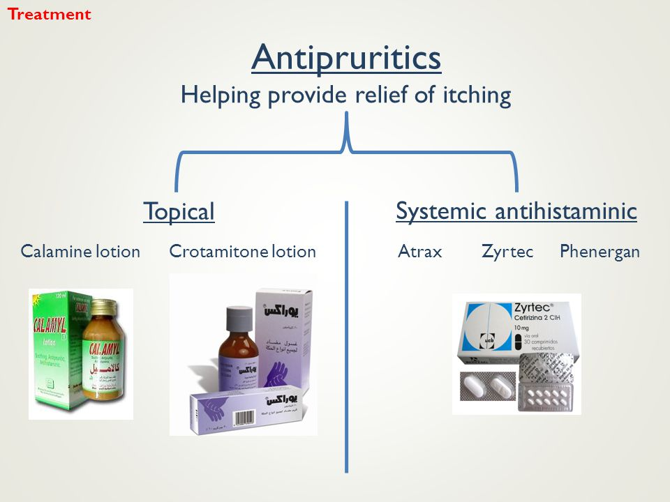Antipruritics Topical Helping provide relief of itching Systemic antihistaminic Calamine lotionCrotamitone lotionAtraxZyrtecPhenergan Treatment