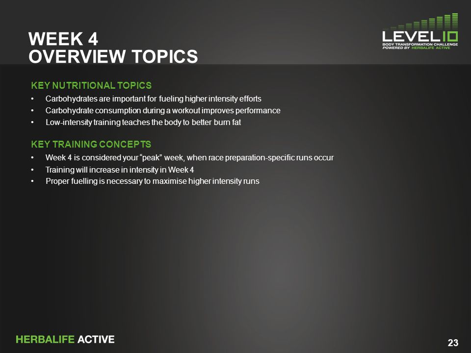 23 WEEK 4 OVERVIEW TOPICS KEY NUTRITIONAL TOPICS Carbohydrates are important for fueling higher intensity efforts Carbohydrate consumption during a workout improves performance Low-intensity training teaches the body to better burn fat KEY TRAINING CONCEPTS Week 4 is considered your peak week, when race preparation-specific runs occur Training will increase in intensity in Week 4 Proper fuelling is necessary to maximise higher intensity runs