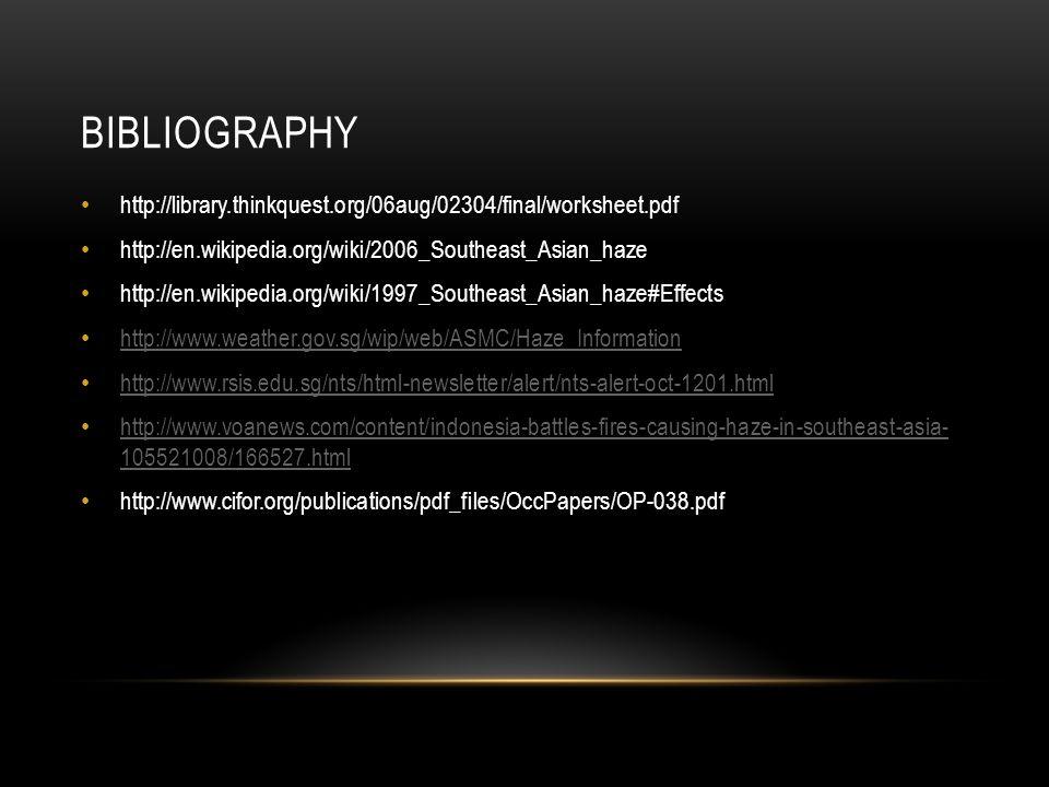 BIBLIOGRAPHY http://library.thinkquest.org/06aug/02304/final/worksheet.pdf http://en.wikipedia.org/wiki/2006_Southeast_Asian_haze http://en.wikipedia.