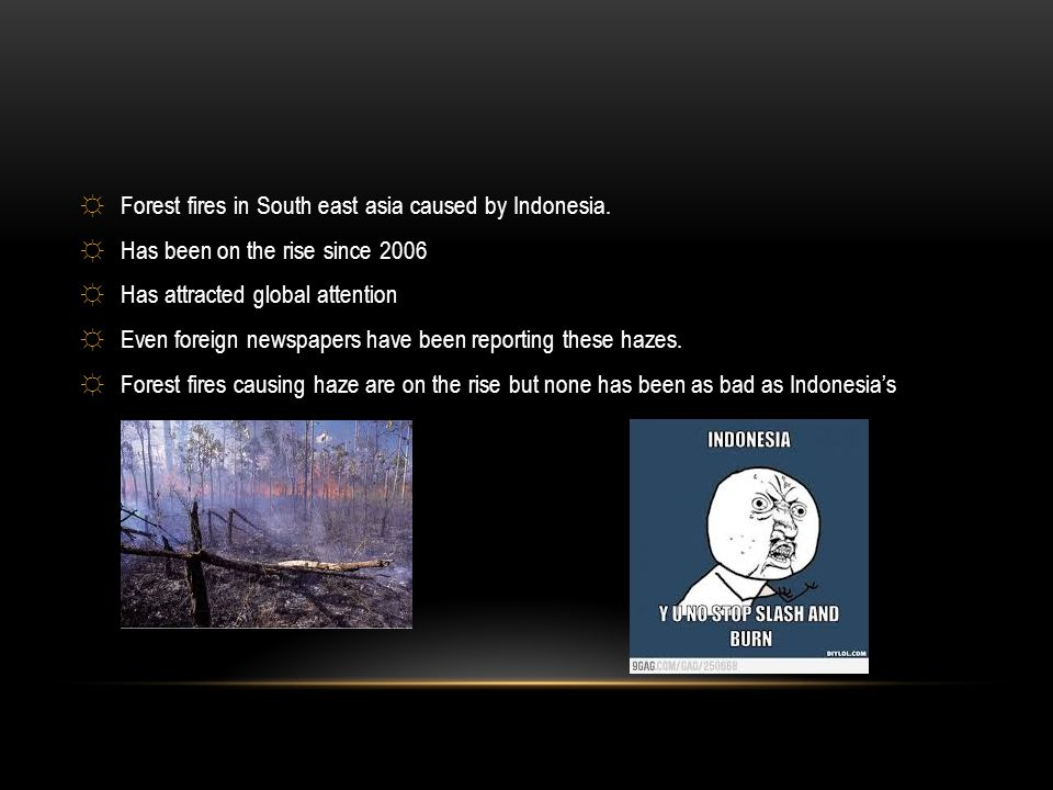 ☼Forest fires in South east asia caused by Indonesia. ☼Has been on the rise since 2006 ☼Has attracted global attention ☼Even foreign newspapers have b