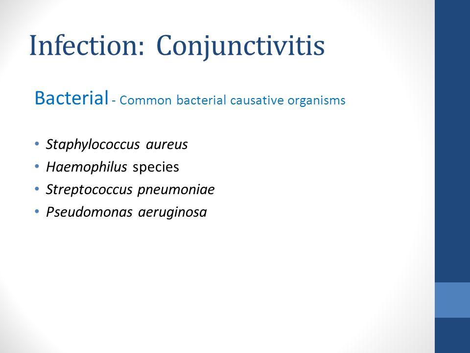 Infection: Conjunctivitis Bacterial - Common bacterial causative organisms Staphylococcus aureus Haemophilus species Streptococcus pneumoniae Pseudomonas aeruginosa