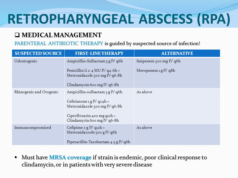  MEDICAL MANAGEMENT PARENTERAL ANTIBIOTIC THERAPY is guided by suspected source of infection.