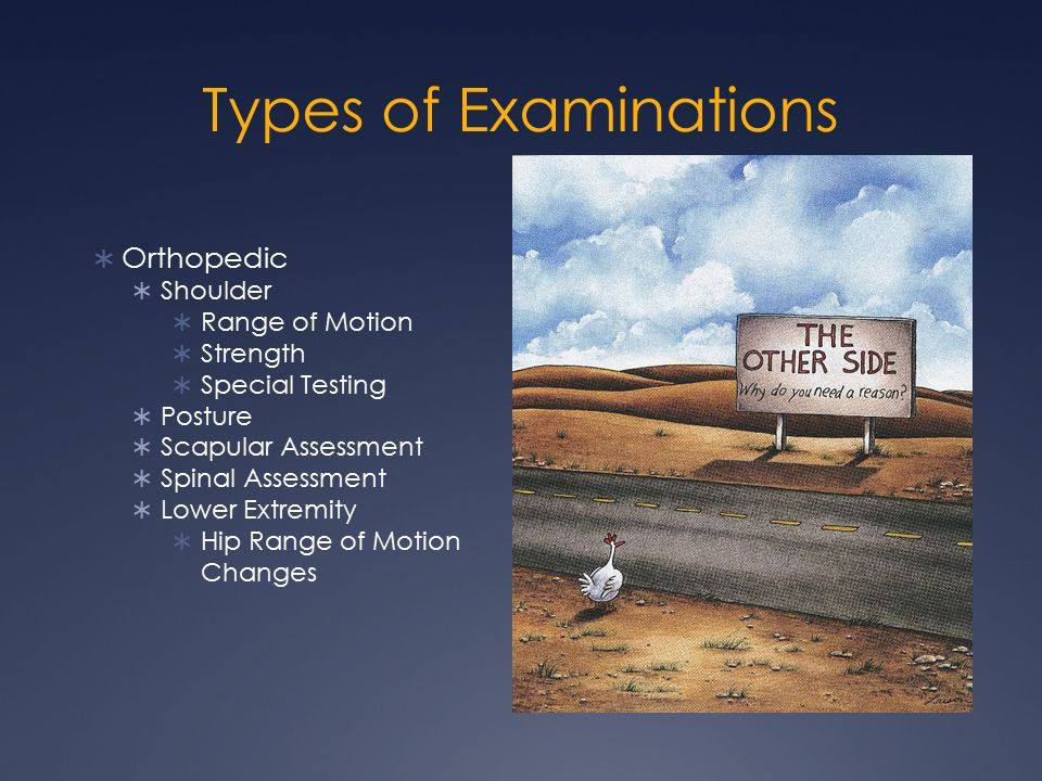 Types of Examinations  Orthopedic  Shoulder  Range of Motion  Strength  Special Testing  Posture  Scapular Assessment  Spinal Assessment  Lower Extremity  Hip Range of Motion Changes