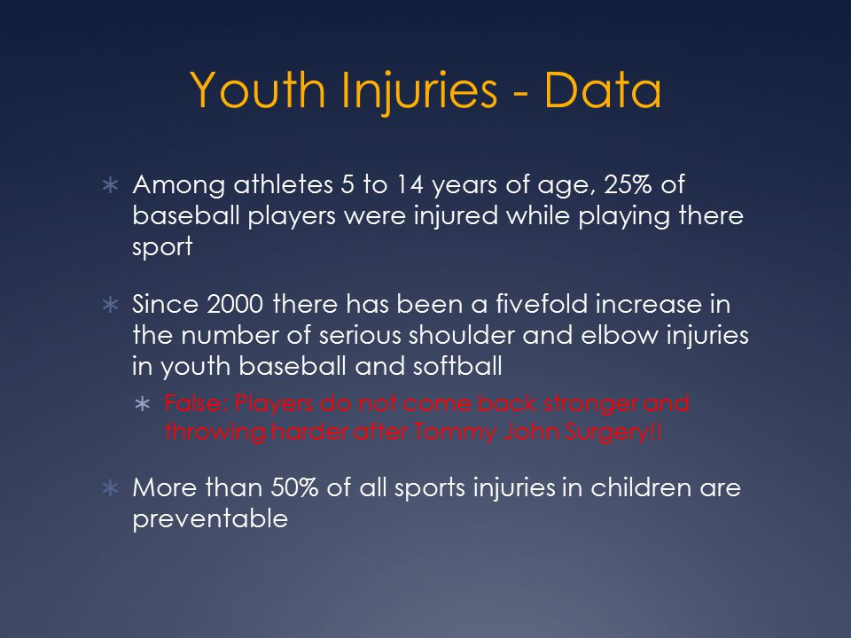 Youth Injuries - Data  Among athletes 5 to 14 years of age, 25% of baseball players were injured while playing there sport  Since 2000 there has been a fivefold increase in the number of serious shoulder and elbow injuries in youth baseball and softball  False: Players do not come back stronger and throwing harder after Tommy John Surgery!.