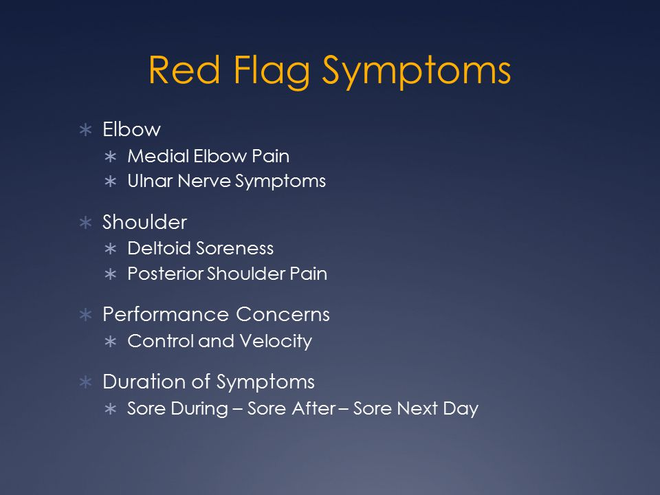Red Flag Symptoms  Elbow  Medial Elbow Pain  Ulnar Nerve Symptoms  Shoulder  Deltoid Soreness  Posterior Shoulder Pain  Performance Concerns  Control and Velocity  Duration of Symptoms  Sore During – Sore After – Sore Next Day