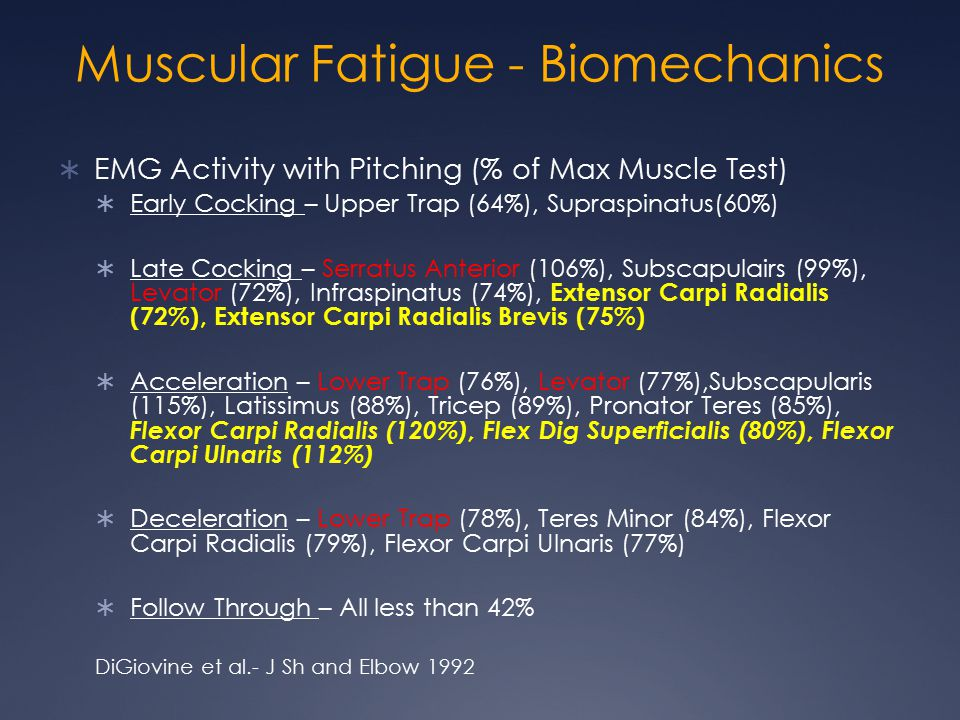 Muscular Fatigue - Biomechanics  EMG Activity with Pitching (% of Max Muscle Test)  Early Cocking – Upper Trap (64%), Supraspinatus(60%)  Late Cock