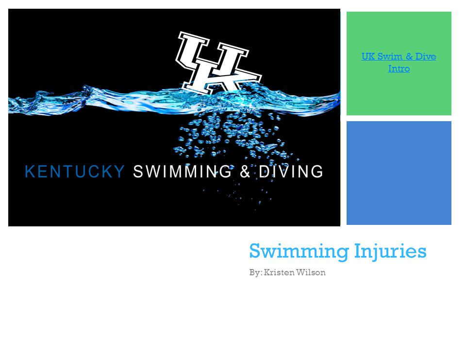 + Swimming Injuries By: Kristen Wilson UK Swim & Dive Intro