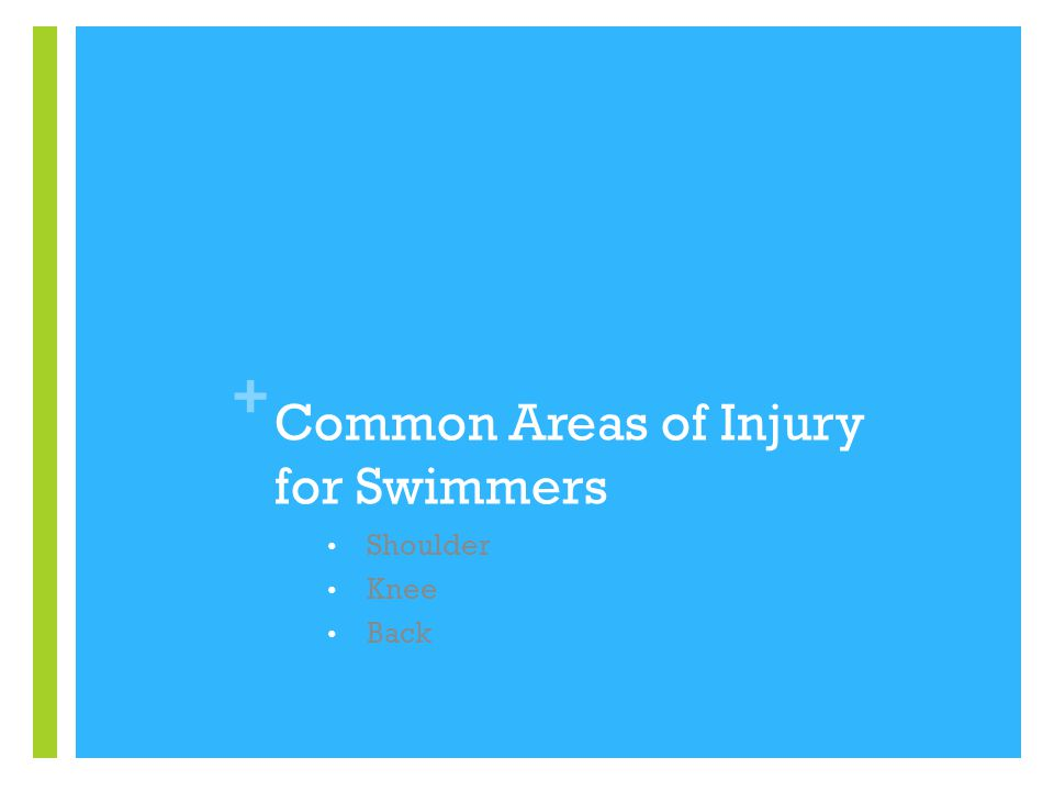 + Common Areas of Injury for Swimmers Shoulder Knee Back