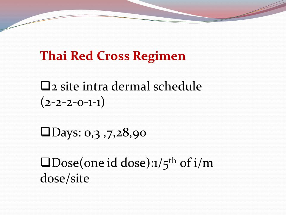 Thai Red Cross Regimen  2 site intra dermal schedule (2-2-2-0-1-1)  Days: 0,3,7,28,90  Dose(one id dose):1/5 th of i/m dose/site