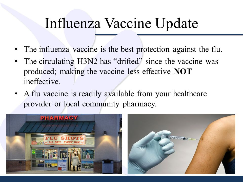 Influenza Vaccine Update The influenza vaccine is the best protection against the flu.