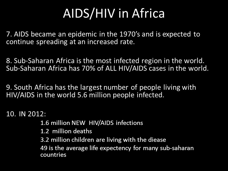 AIDS/HIV in Africa 7.