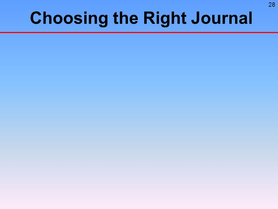 28 Choosing the Right Journal