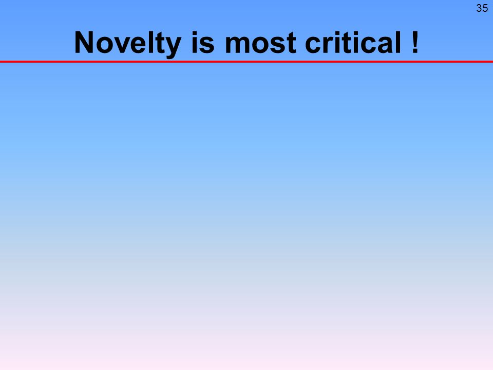 35 Novelty is most critical !