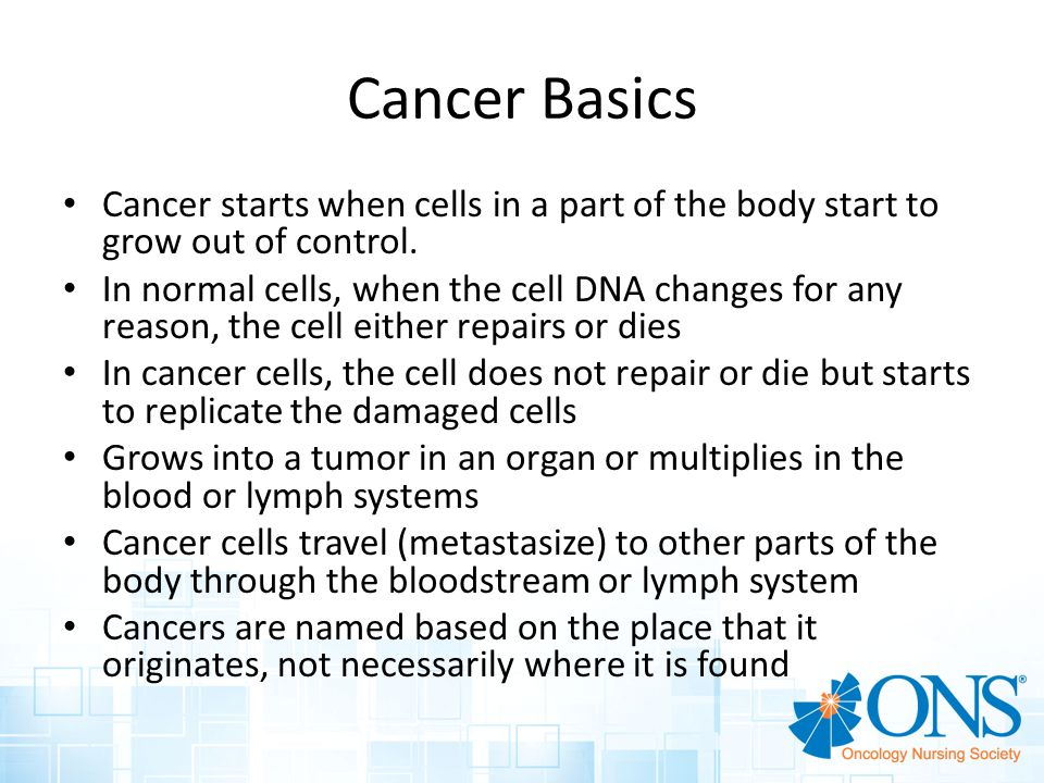 Percent Surviving 5 Years Cancer Basics Cancer starts when cells in a part of the body start to grow out of control.