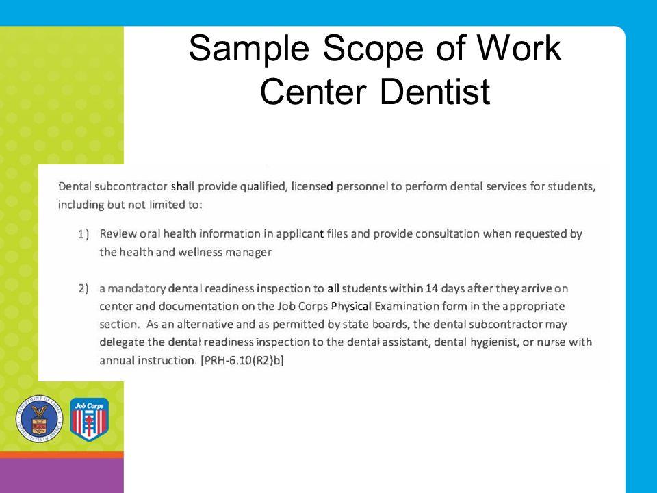 Sample Scope of Work Center Dentist