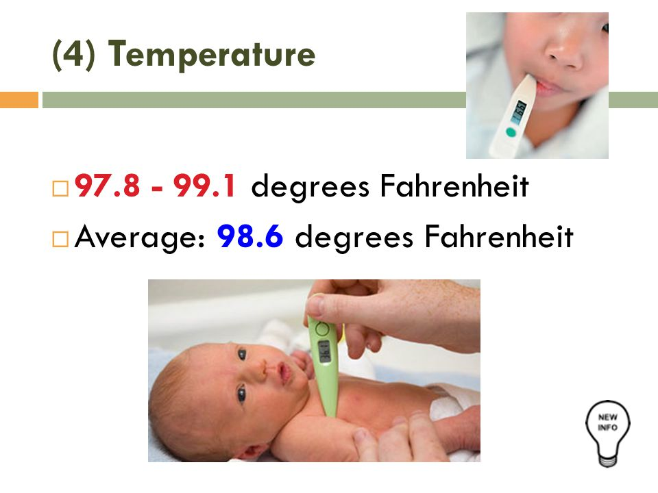 (4) Temperature  97.8 - 99.1 degrees Fahrenheit  Average: 98.6 degrees Fahrenheit