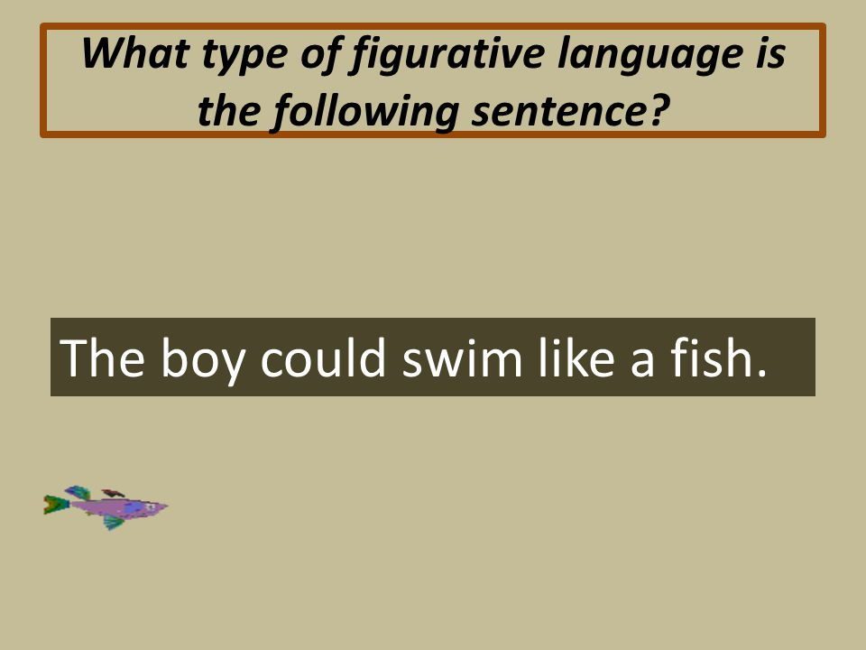 What type of figurative language is the following sentence The boy could swim like a fish.