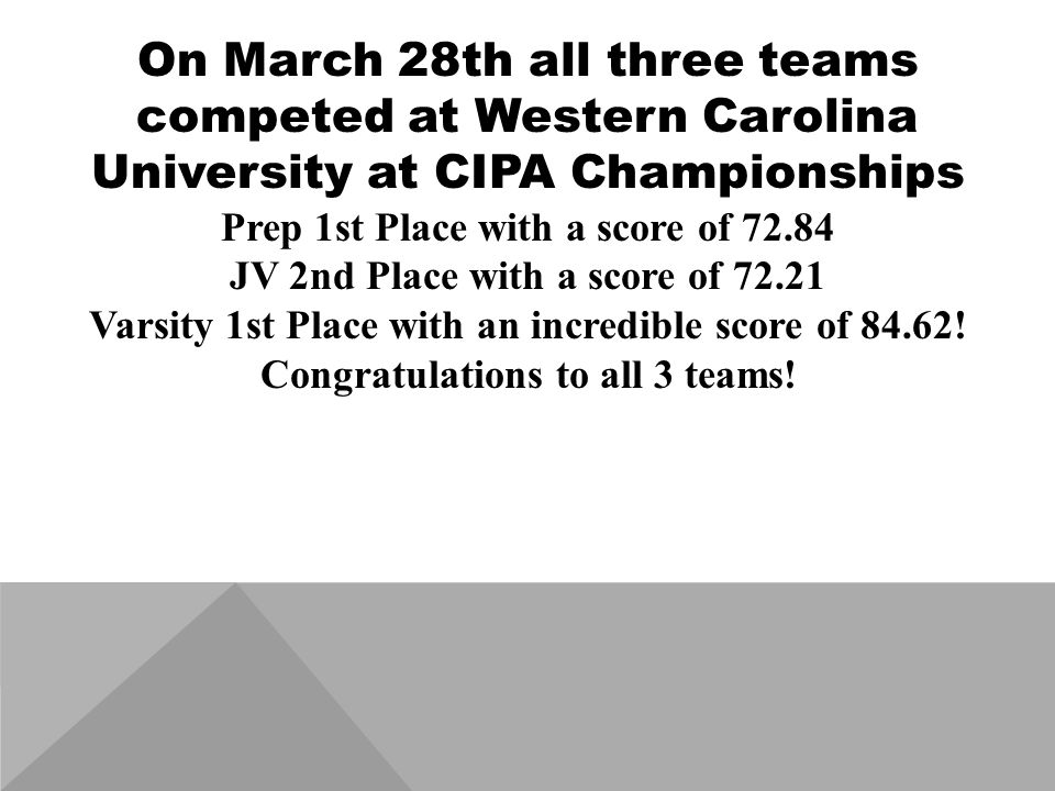 On March 28th all three teams competed at Western Carolina University at CIPA Championships Prep 1st Place with a score of 72.84 JV 2nd Place with a score of 72.21 Varsity 1st Place with an incredible score of 84.62.