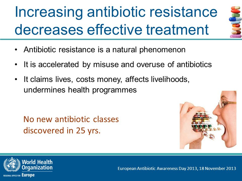 European Antibiotic Awareness Day 2013, 18 November 2013 Increasing antibiotic resistance decreases effective treatment Antibiotic resistance is a natural phenomenon It is accelerated by misuse and overuse of antibiotics It claims lives, costs money, affects livelihoods, undermines health programmes No new antibiotic classes discovered in 25 yrs.