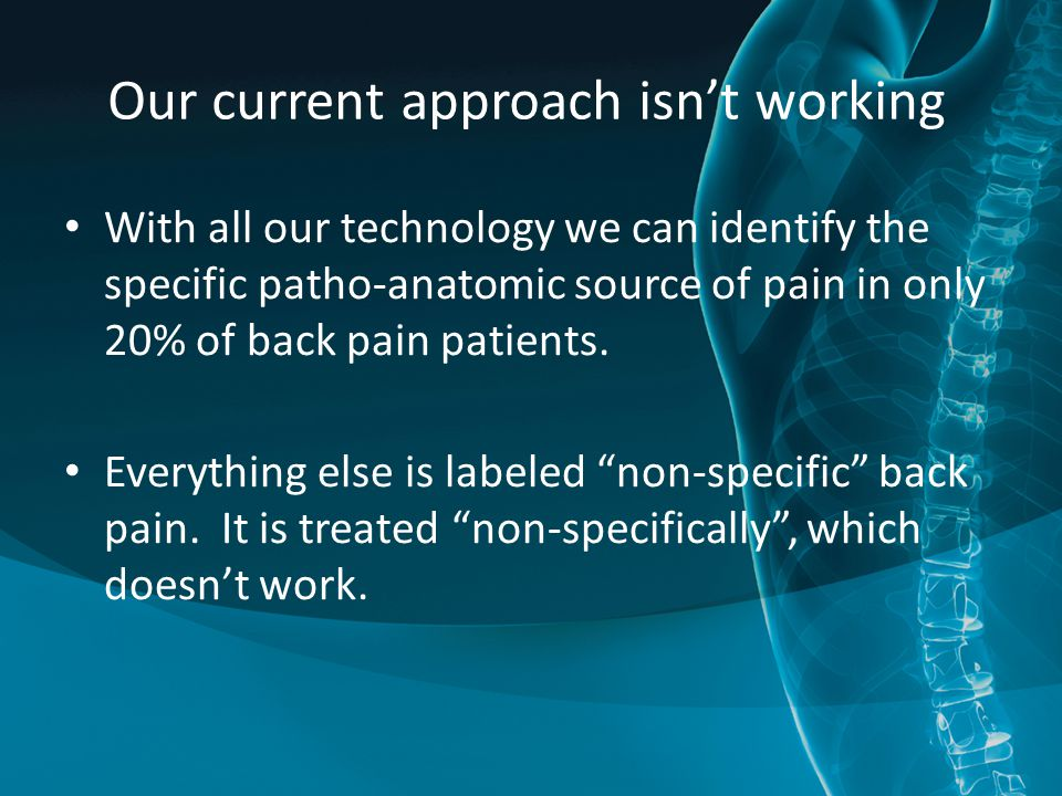 Our current approach isn't working With all our technology we can identify the specific patho-anatomic source of pain in only 20% of back pain patients.