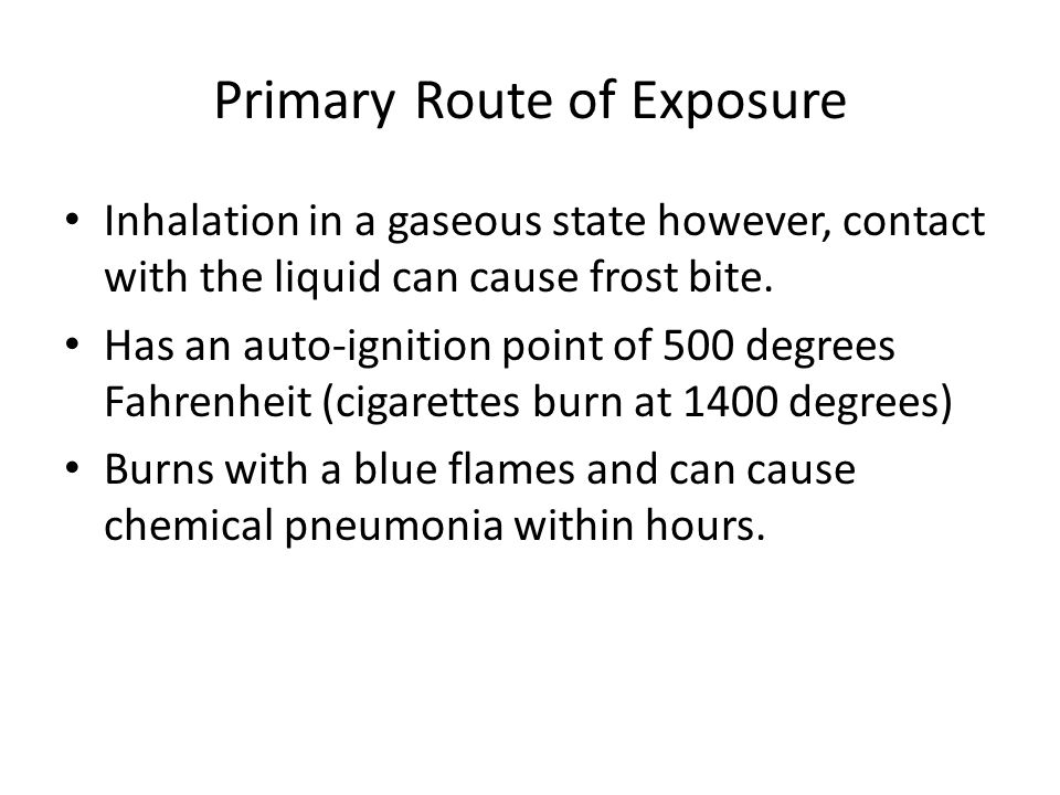 Exposure Low concentrations ( 0 – 10 ppm) cause eye irritation, sore throat, cough, nausea, shortness of breath and fluid in the lungs.