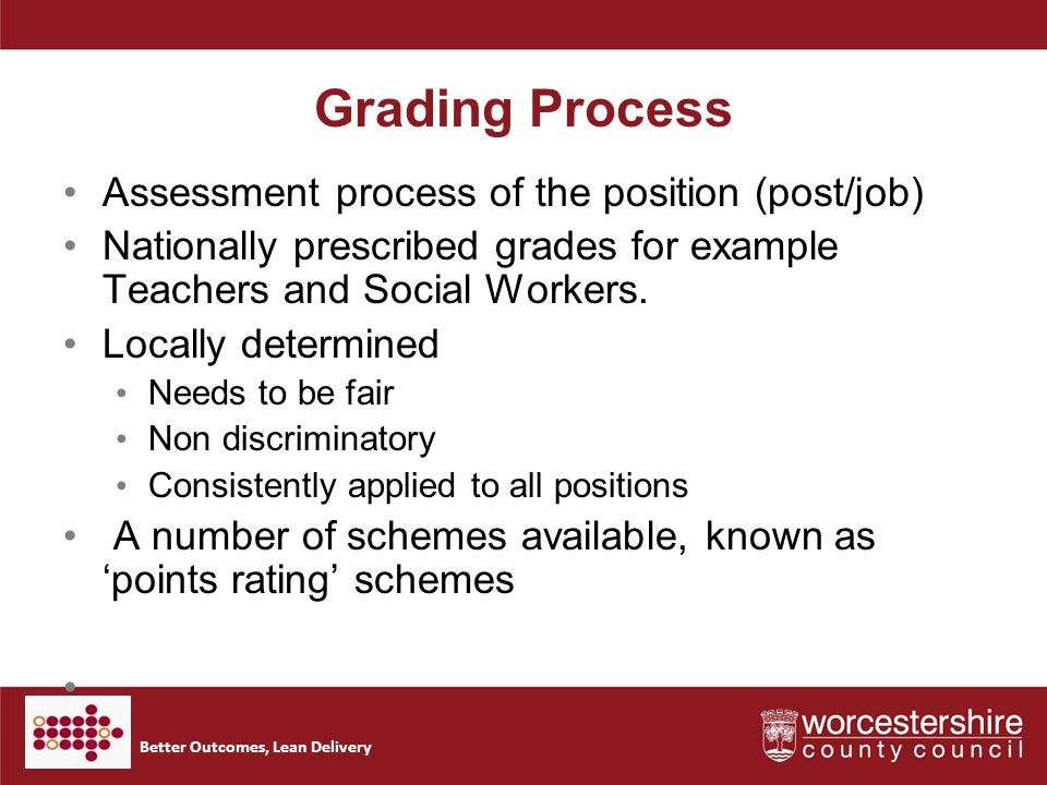 Better Outcomes, Lean Delivery Grading Process Assessment process of the position (post/job) Nationally prescribed grades for example Teachers and Social Workers.