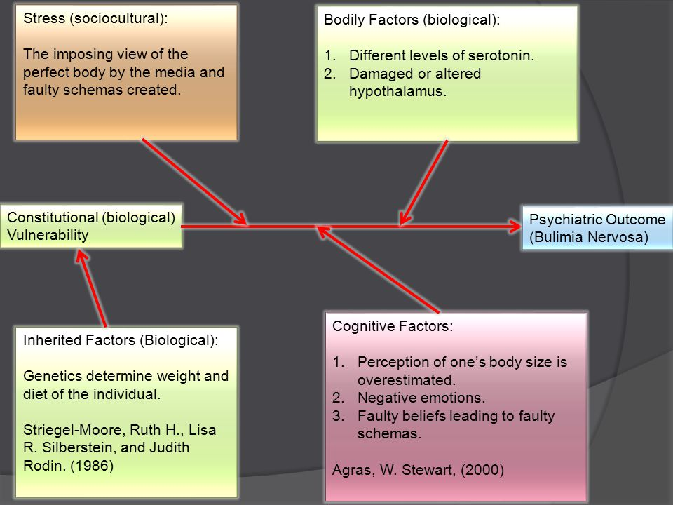 Constitutional (biological) Vulnerability Psychiatric Outcome (Bulimia Nervosa) Inherited Factors (Biological): Genetics determine weight and diet of the individual.