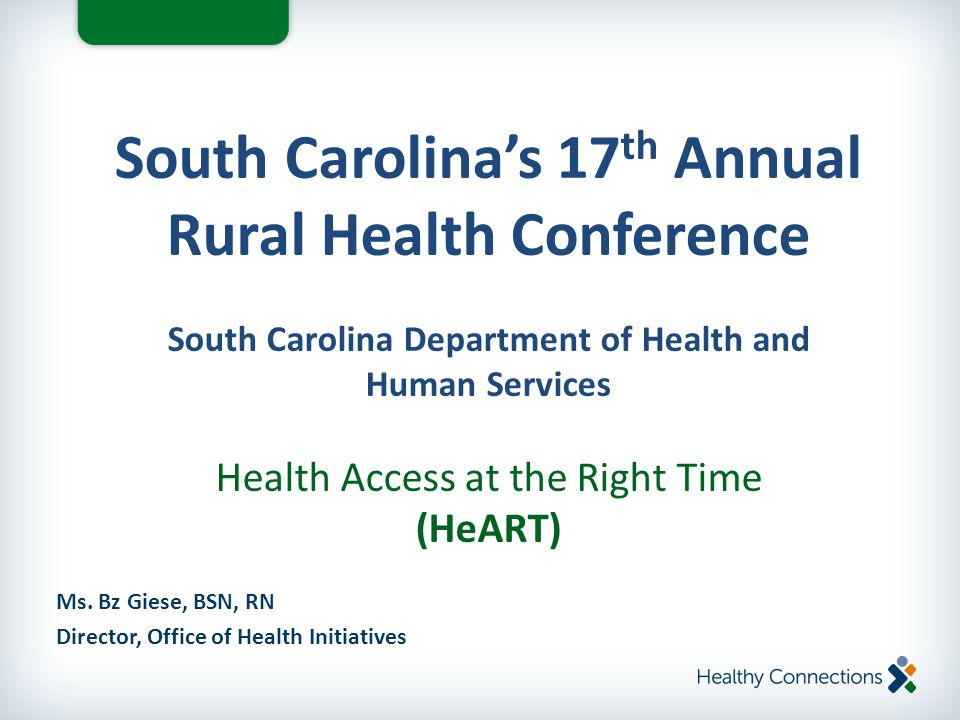 Ms. Bz Giese, BSN, RN Director, Office of Health Initiatives South Carolina's 17 th Annual Rural Health Conference South Carolina Department of Health