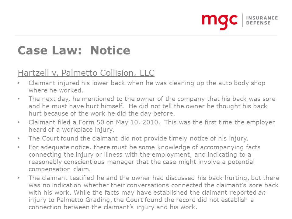 Case Law: Notice Hartzell v.