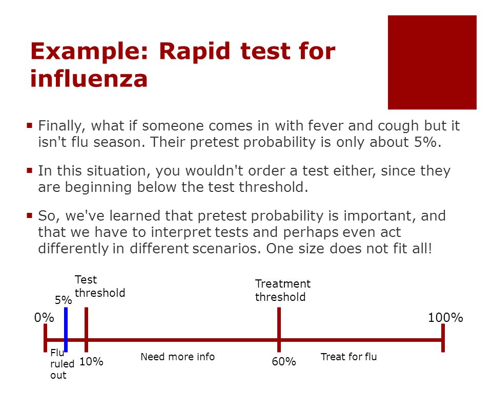 Example: Rapid test for influenza  Finally, what if someone comes in with fever and cough but it isn t flu season.