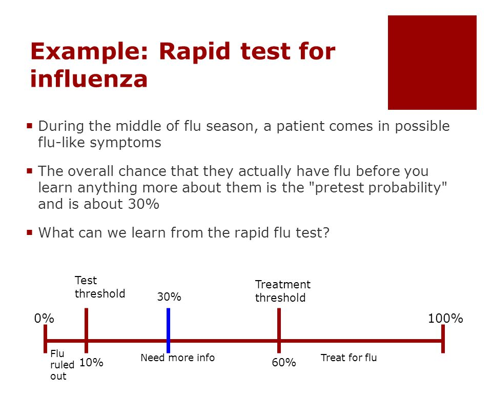 Example: Rapid test for influenza  During the middle of flu season, a patient comes in possible flu-like symptoms  The overall chance that they actually have flu before you learn anything more about them is the pretest probability and is about 30%  What can we learn from the rapid flu test.