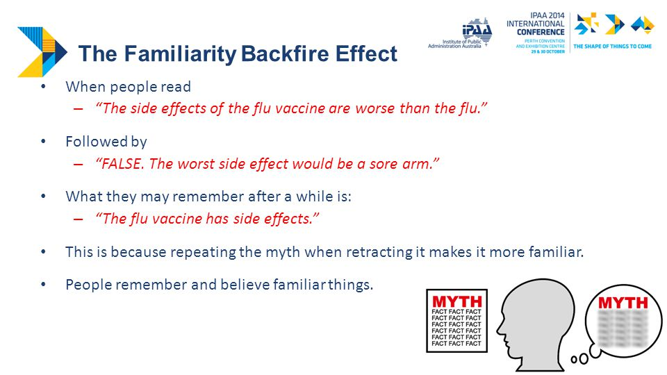 The Familiarity Backfire Effect When people read – The side effects of the flu vaccine are worse than the flu. Followed by – FALSE.