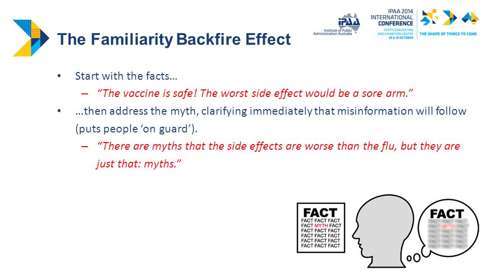 The Familiarity Backfire Effect Start with the facts… – The vaccine is safe.