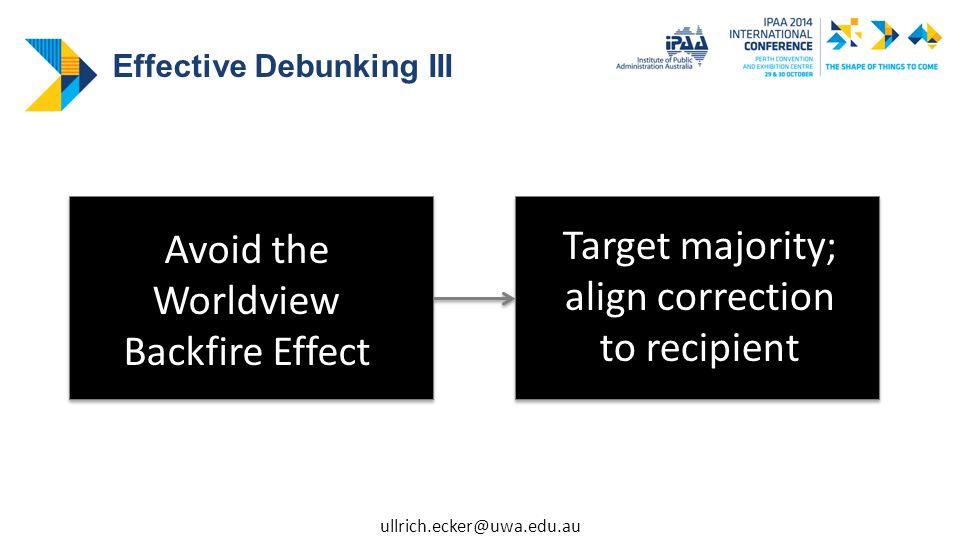 Avoid the Worldview Backfire Effect Target majority; align correction to recipient Effective Debunking III ullrich.ecker@uwa.edu.au