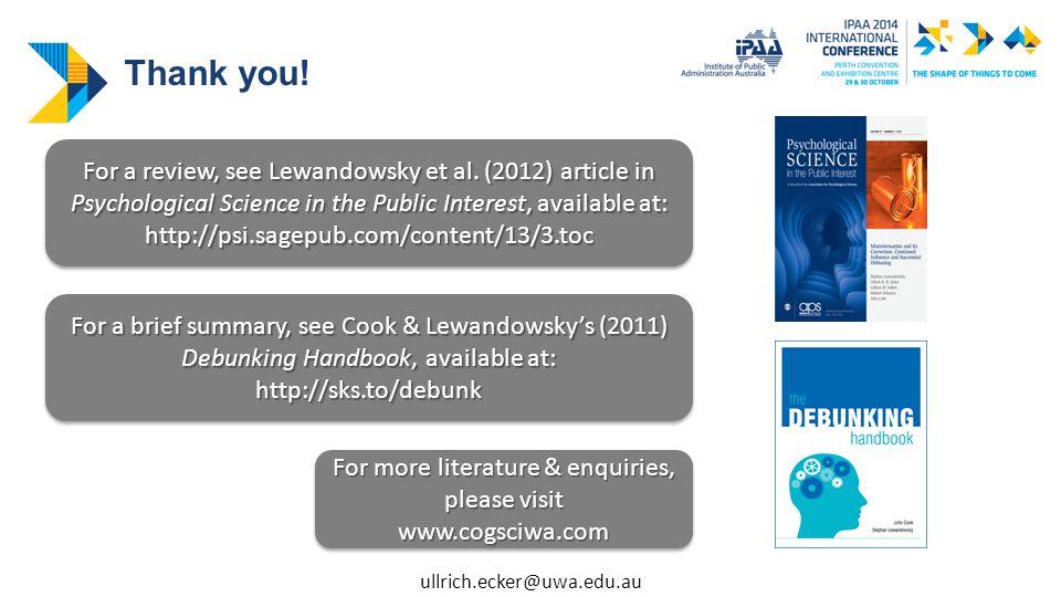 For a review, see Lewandowsky et al.