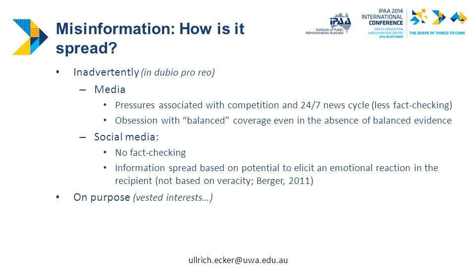 Misinformation – Why believe it.