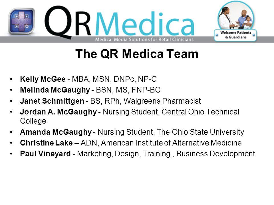 The QR Medica Team Kelly McGee - MBA, MSN, DNPc, NP-C Melinda McGaughy - BSN, MS, FNP-BC Janet Schmittgen - BS, RPh, Walgreens Pharmacist Jordan A.