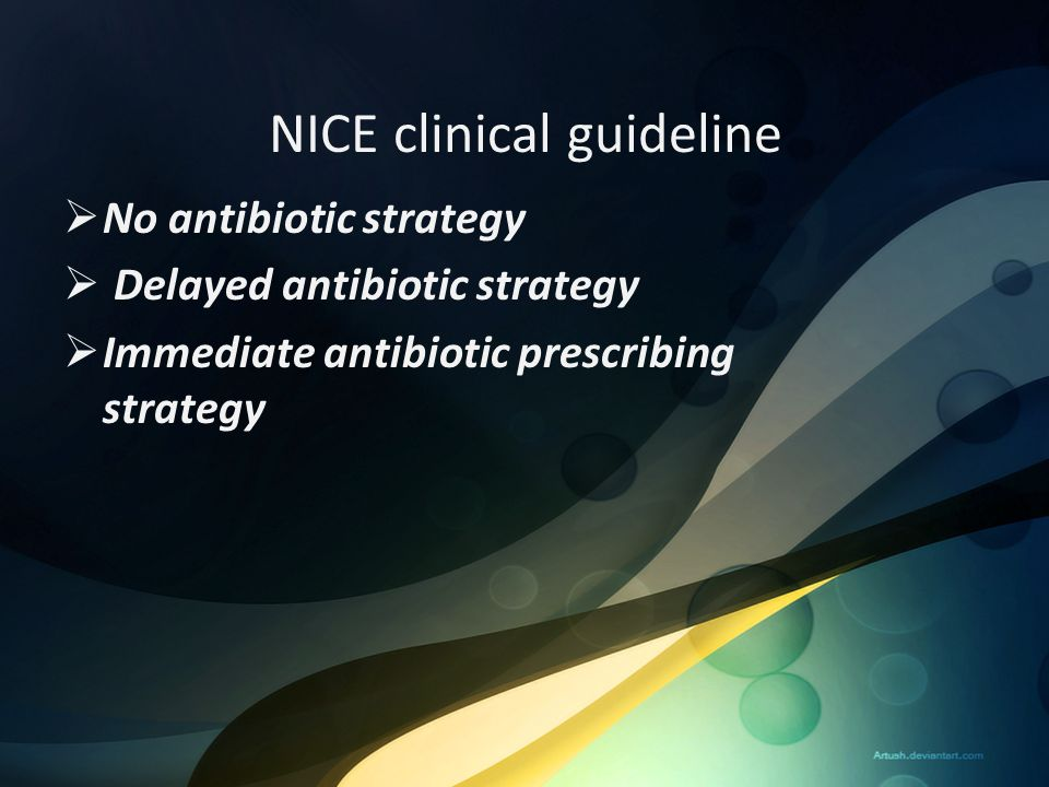 NICE clinical guideline  No antibiotic strategy  Delayed antibiotic strategy  Immediate antibiotic prescribing strategy