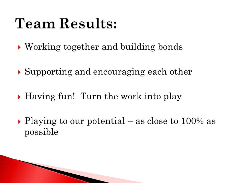  Working together and building bonds  Supporting and encouraging each other  Having fun! Turn the work into play  Playing to our potential – as cl