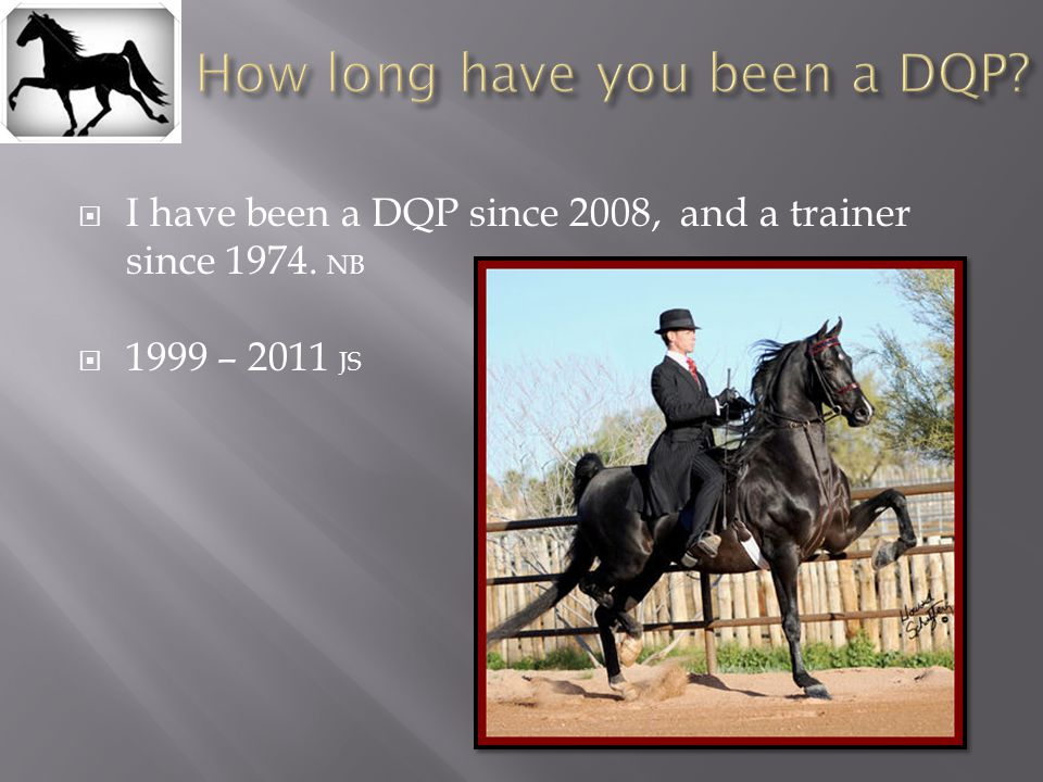  I have been a DQP since 2008, and a trainer since 1974. NB  1999 – 2011 JS