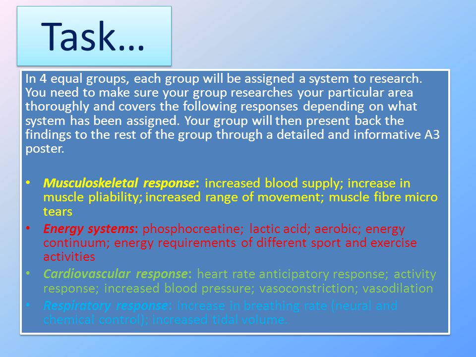 Task… In 4 equal groups, each group will be assigned a system to research.