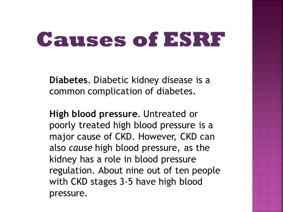Diabetes. Diabetic kidney disease is a common complication of diabetes.