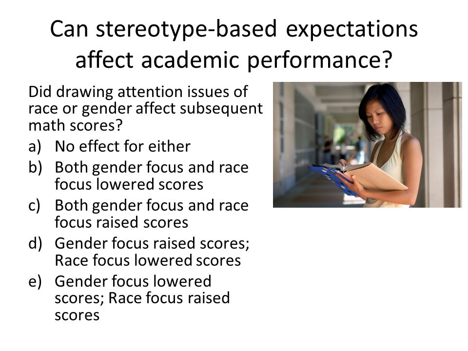 Can stereotype-based expectations affect academic performance.