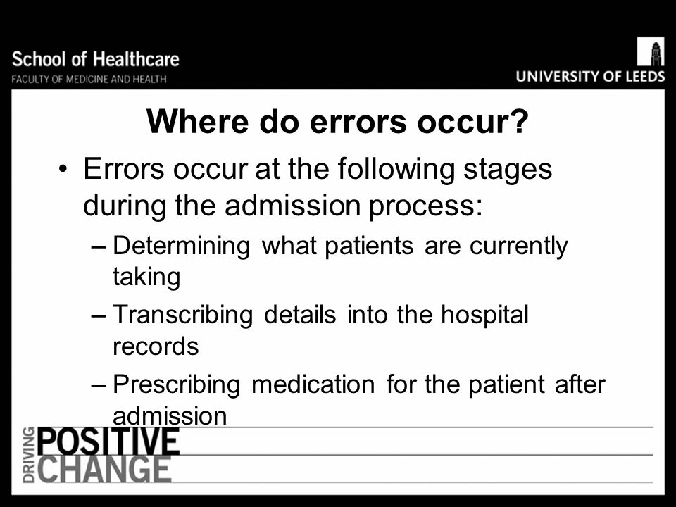 Problems associated with transfer of care Two literature reviews reported unintentional variances of 30-70% between the medications patients were taki