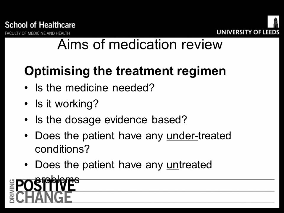8. Review and monitor Medication review is a structured, critical examination of a patient's medicines with the objective of : –reaching an agreement