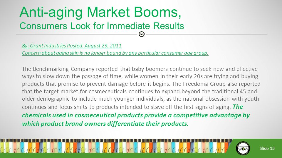 Slide 13 By: Grant Industries Posted: August 23, 2011 Concern about aging skin is no longer bound by any particular consumer age group.