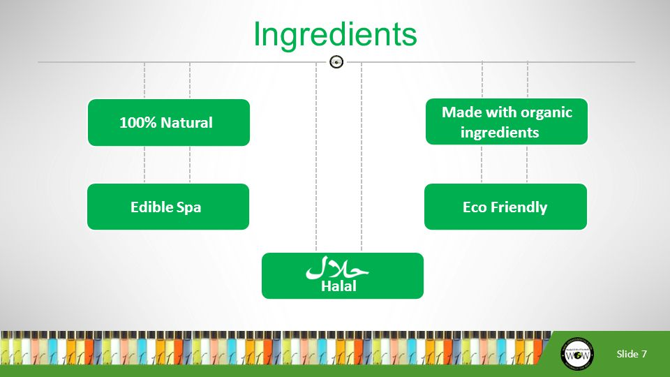 Slide 7 Ingredients 100% Natural Made with organic ingredients Edible SpaEco Friendly Halal