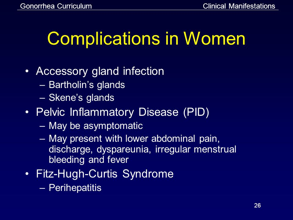 Gonorrhea Curriculum 26 Complications in Women Accessory gland infection –Bartholin's glands –Skene's glands Pelvic Inflammatory Disease (PID) –May be asymptomatic –May present with lower abdominal pain, discharge, dyspareunia, irregular menstrual bleeding and fever Fitz-Hugh-Curtis Syndrome –Perihepatitis Clinical Manifestations