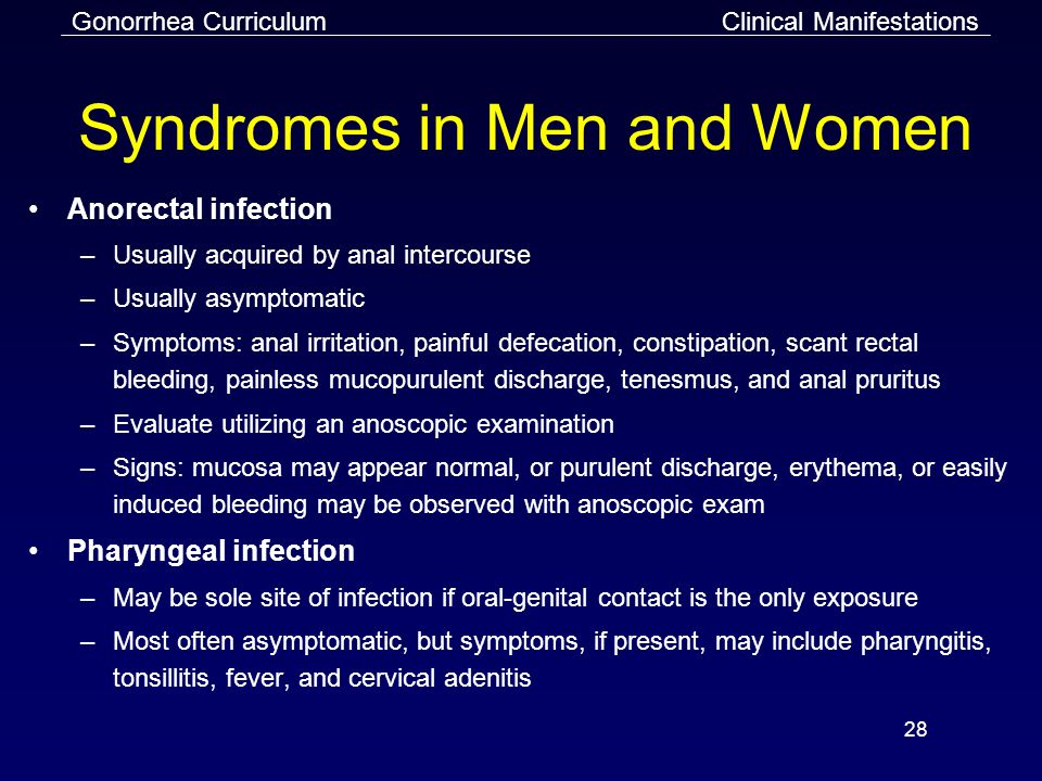 Gonorrhea Curriculum 28 Syndromes in Men and Women Anorectal infection –Usually acquired by anal intercourse –Usually asymptomatic –Symptoms: anal irritation, painful defecation, constipation, scant rectal bleeding, painless mucopurulent discharge, tenesmus, and anal pruritus –Evaluate utilizing an anoscopic examination –Signs: mucosa may appear normal, or purulent discharge, erythema, or easily induced bleeding may be observed with anoscopic exam Pharyngeal infection –May be sole site of infection if oral-genital contact is the only exposure –Most often asymptomatic, but symptoms, if present, may include pharyngitis, tonsillitis, fever, and cervical adenitis Clinical Manifestations